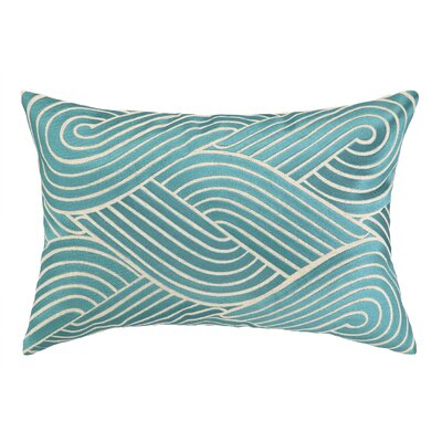 Osaka Waves Embroidered Decorative Linen Lumbar Pillow Color: Sky Blue