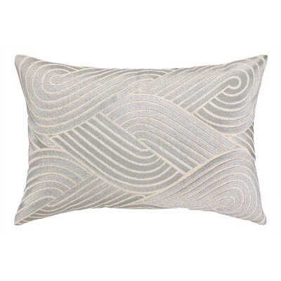 Osaka Waves Embroidered Decorative Linen Lumbar Pillow Color: Silver