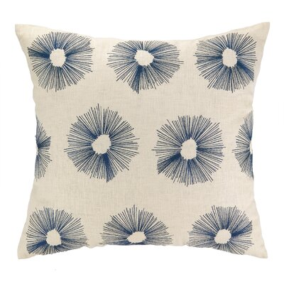 Etoile Embroidered Decorative Linen Throw Pillow Color: Navy