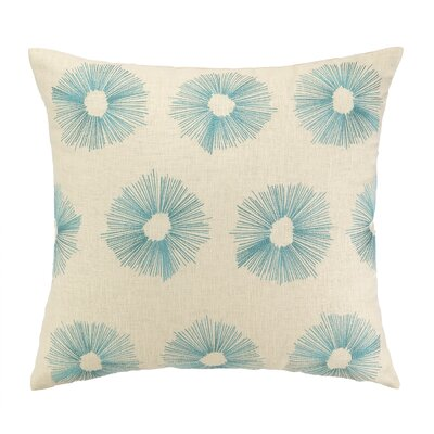 Etoile Embroidered Decorative Linen Throw Pillow Color: Sky Blue