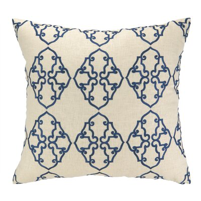 Filigree Embroidered Decorative Linen Throw Pillow Color: Navy Blue