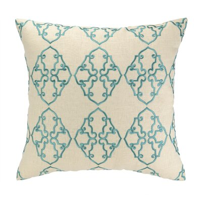 Filigree Embroidered Decorative Linen Throw Pillow Color: Sky Blue