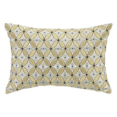 Delphinium Embroidered Decorative Linen Lumbar Pillow Color: Argent