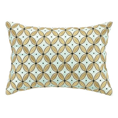 Delphinium Embroidered Decorative Linen Lumbar Pillow Color: Menthe
