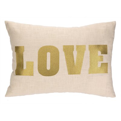 Love Embroidered Decorative Linen Lumbar Pillow