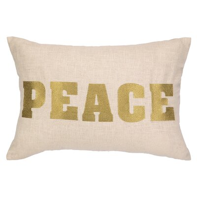 Peace Embroidered Decorative Linen Lumbar Pillow
