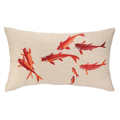 Koi Pond Embroidered Decorative Linen Lumbar Pillow