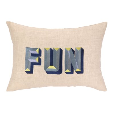 Fun Embroidered Decorative Linen Lumbar Pillow