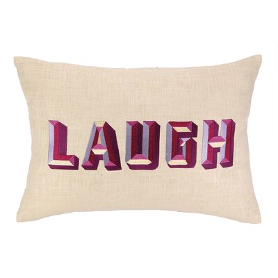 Laugh Embroidered Decorative Linen Lumbar Pillow