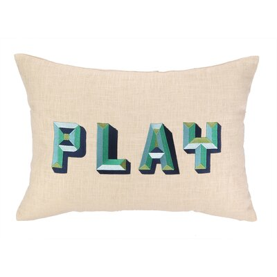 Play Embroidered Decorative Linen Lumbar Pillow