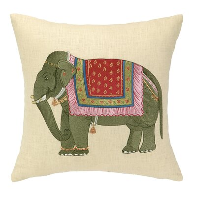 Punjabi Elephant Embroidered Decorative Linen Throw Pillow