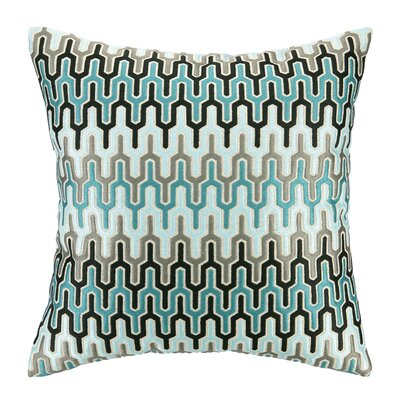 Skyscraper Embroidered Decorative Linen Throw Pillow Color: Blue/Light Blue