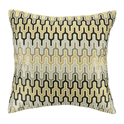 Skyscraper Embroidered Decorative Linen Throw Pillow Color: Gold/Silver