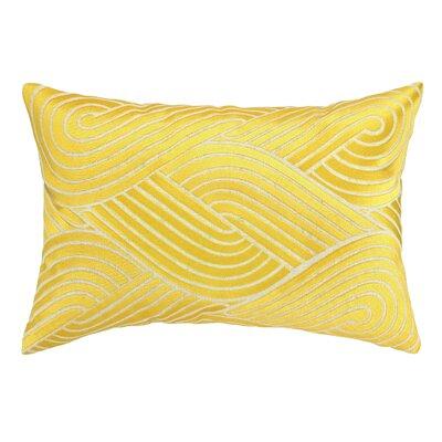 Osaka Waves Embroidered Decorative Linen Lumbar Pillow Color: Lemon