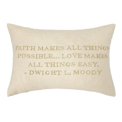 Moody Quote Embroidered Decorative Linen Lumbar Pillow