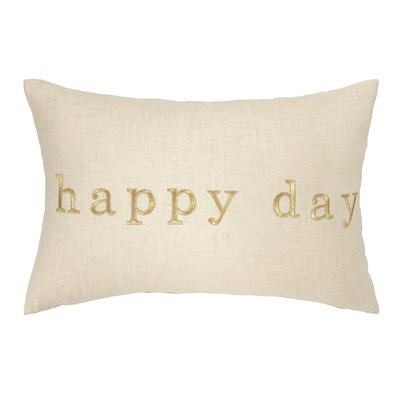 Happy Day Embroidered Decorative Linen Lumbar Pillow