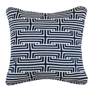 Labyrinth Linen Throw Pillow Color: Indigo