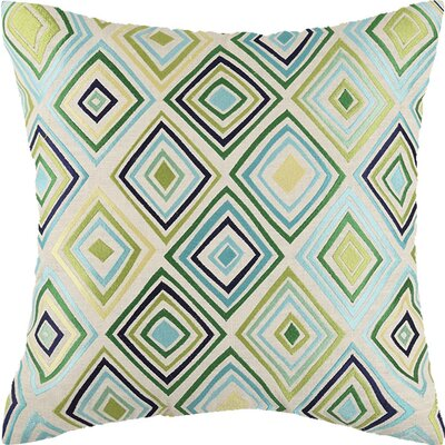 Bullseye Linen Throw Pillow Color: Green/Blue