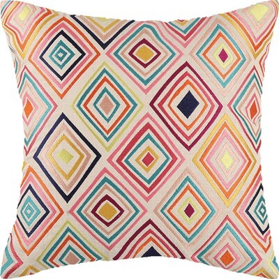 Bullseye Linen Throw Pillow Color: Multi