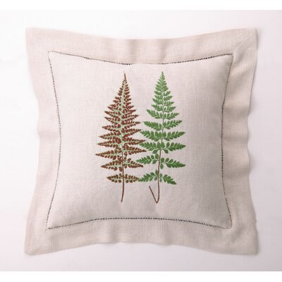 Embroidered Fern Leaves III Linen Throw Pillow
