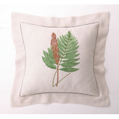 Embroidered Fern Leaves IV Linen Throw Pillow