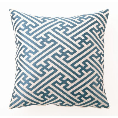 Embroidered Cross Hatch Linen Throw Pillow Color: Teal