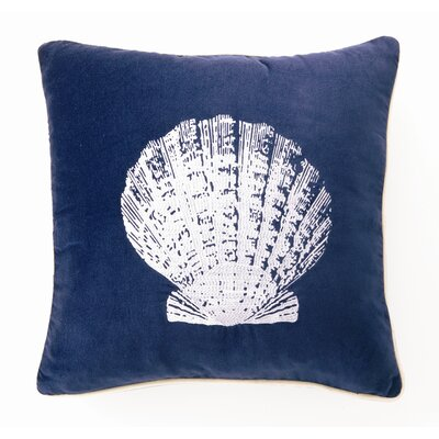 Embroidered Scallop Linen Throw Pillow