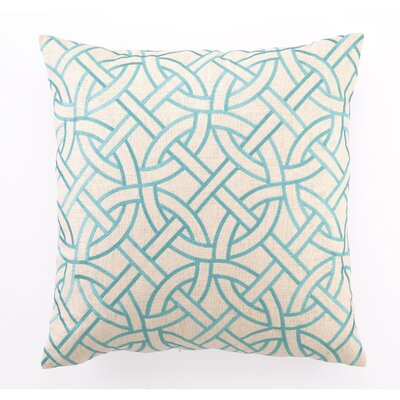 Embroidered Circle Link Linen Throw Pillow Color: Turquoise