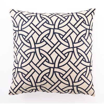 Embroidered Circle Link Linen Throw Pillow Color: Navy