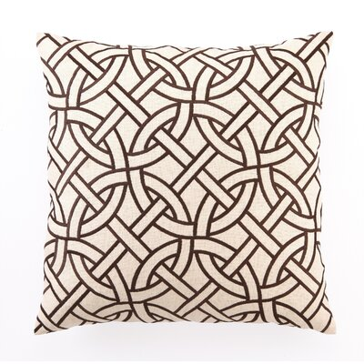 Embroidered Circle Link Linen Throw Pillow Color: Brown