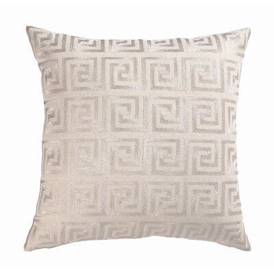 Embroidered Greek Key Linen Throw Pillow Color: Metallic Silver
