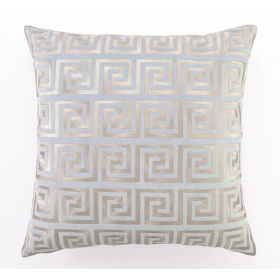 Embroidered Greek Key Linen Throw Pillow Color: Blue