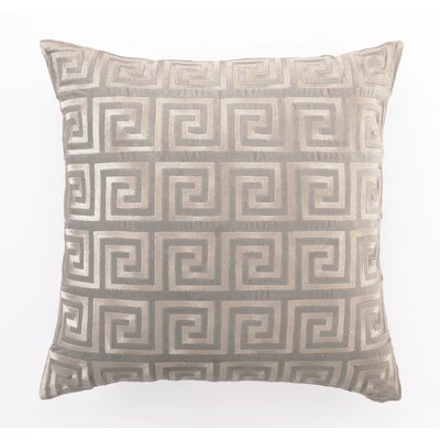 Embroidered Greek Key Linen Throw Pillow Color: Grey