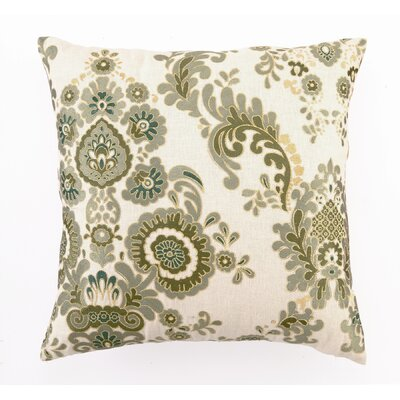 Embroidered Marseilles Linen Throw Pillow Color: Green