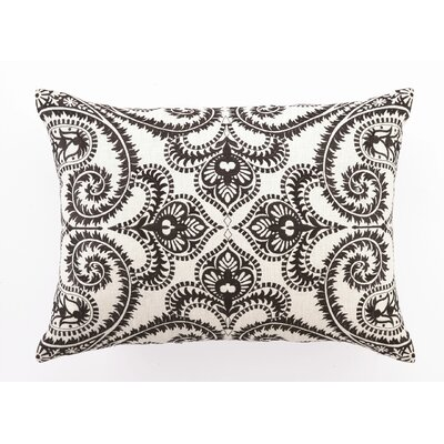 Embroidered Amalfi Linen Lumbar Pillow Color: Chocolate