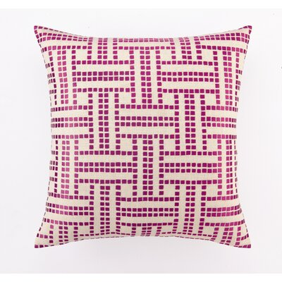 Embroidered Basket Weave Linen Throw Pillow Color: Raspberry