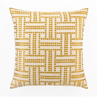 Embroidered Basket Weave Linen Throw Pillow Color: Marigold