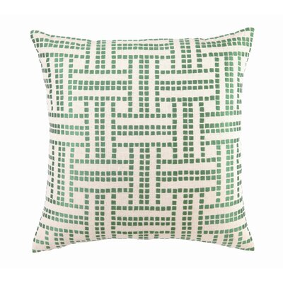 Embroidered Basket Weave Linen Throw Pillow Color: Apple Green