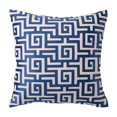 Embroidered Greek Linen Throw Pillow Color: Navy