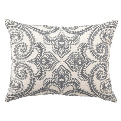 Embroidered Amalfi Linen Lumbar Pillow Color: Slate