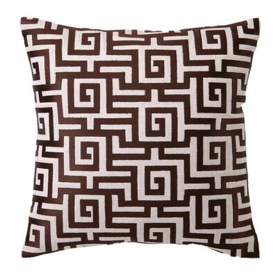 Embroidered Greek Linen Throw Pillow Color: Chocolate
