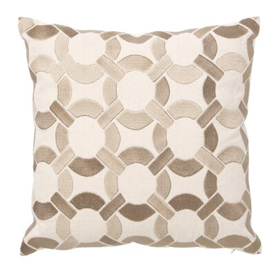 Embroidered Mod Link Linen Throw Pillow Color: Taupe