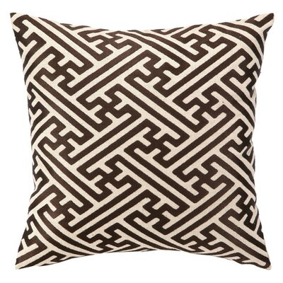 Embroidered Cross Hatch Linen Throw Pillow Color: Chocolate