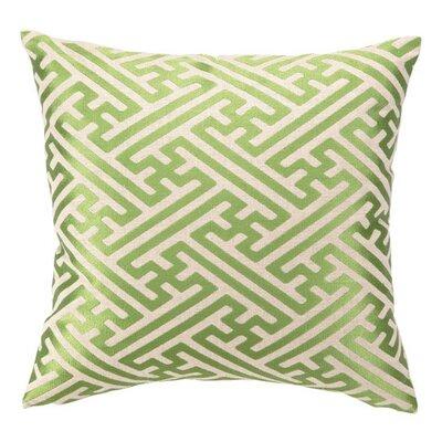 Embroidered Cross Hatch Linen Throw Pillow Color: Avocado