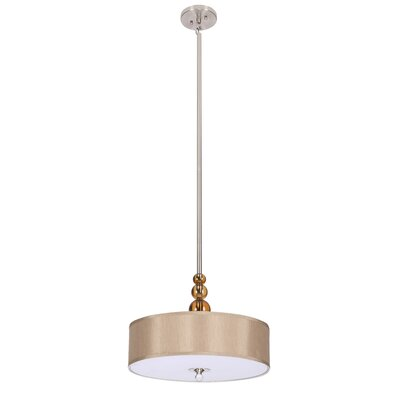 3-Light Drum Pendant Shade Color: Gold Satin