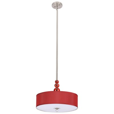 3-Light Drum Pendant Shade Color: Red