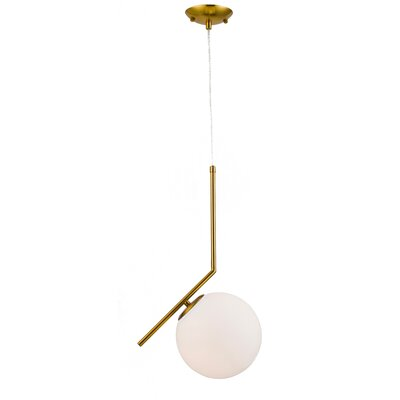 1-Light LED Globe Pendant Finish: Brass Iron