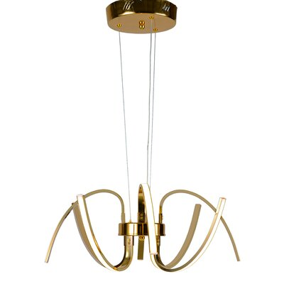 8-Light LED Geometric Pendant Finish: Gold