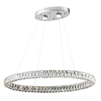 Anstett Single Ring 2-Light LED Crystal Pendant