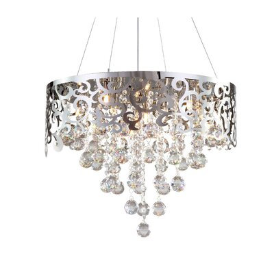 Laser Cut 6-Light Crystal Chandelier